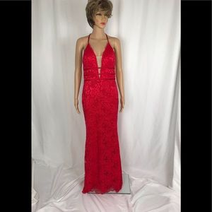 Betsy & Adam Red Lace Evening Gown